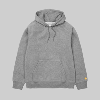 CARHARTT WIP CHASE HOODED SWEAT GREY HEATHER GOLD