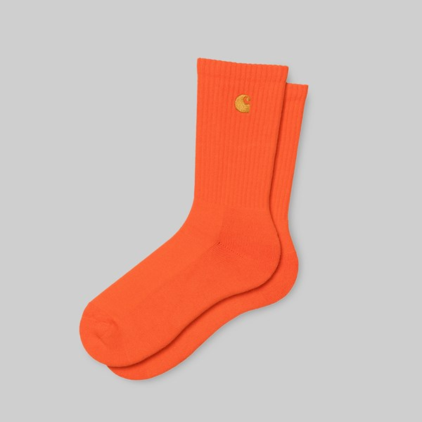 CARHARTT WIP CHASE SOCKS SAFETY ORANGE GOLD