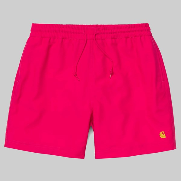 CARHARTT CHASE SWIM SHORTS RUBY PINK GOLD