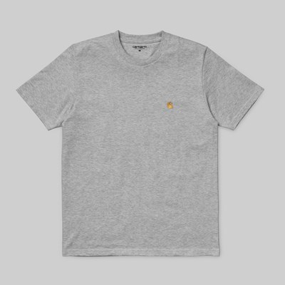 CARHARTT WIP CHASE SS T-SHIRT GREY HEATHER GOLD