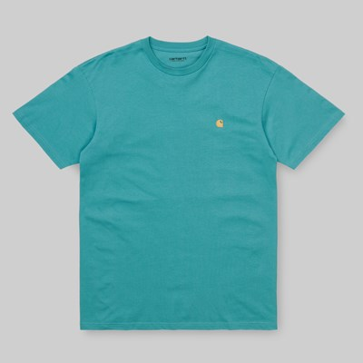 CARHARTT WIP CHASE SS T-SHIRT FROSTED TURQUOISE GOLD
