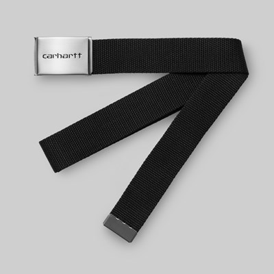 CARHARTT WIP CLIP BELT CHROME BLACK