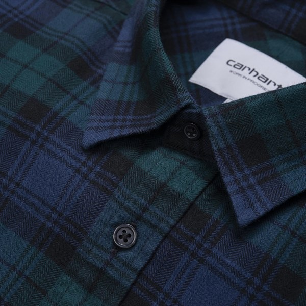 CARHARTT WIP PELKEY LS SHIRT CHECK DARK FIR BLUE