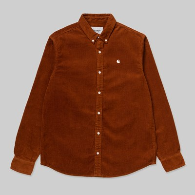 CARHARTT WIP LS MADISON CORD SHIRT BRANDY WAX