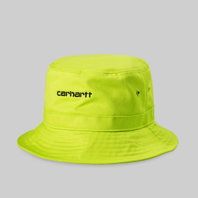 CARHARTT WIP SCRIPT BUCKET HAT LIME BLACK