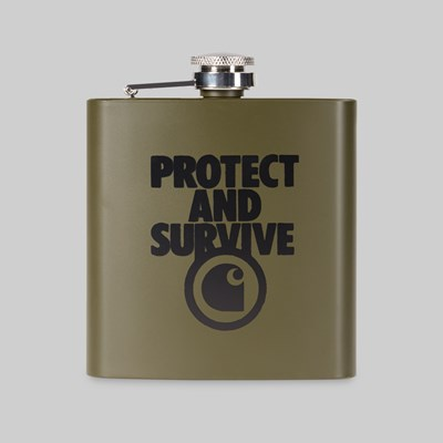 CARHARTT WIP PROTECT SURVIVE WHISKEY FLASK CYPRESS