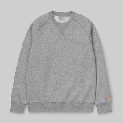 CARHARTT WIP CHASE CREW SWEAT GREY HEATHER GOLD