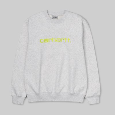 CARHARTT WIP CREW SWEAT ASH HEATHER LIME