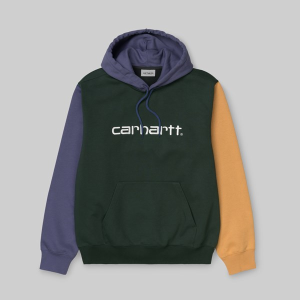 CARHARTT WIP TRICOLOUR HOODED SWEAT DARK TEAL