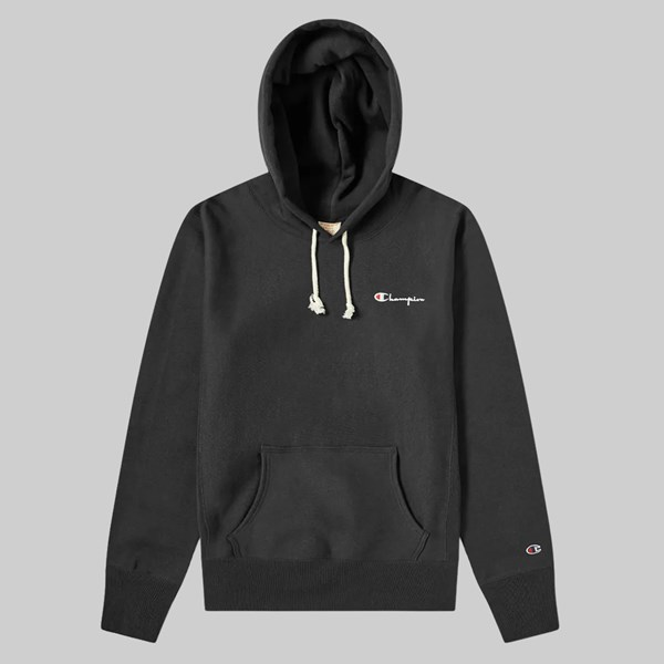 CHAMPION REVERSE WEAVE SMALL SCRIPT HOOD BLACK