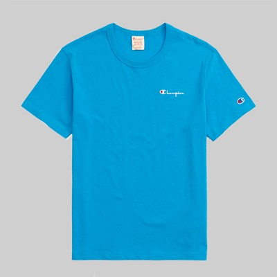 CHAMPION REVERSE WEAVE SMALL SCRIPT TEE BLUE