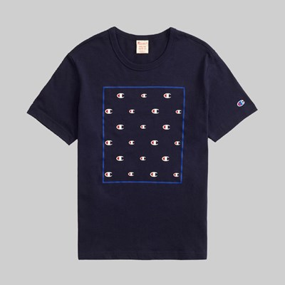 CHAMPION REVERSE WEAVE BOX MULTI LOGO TEE NAVY