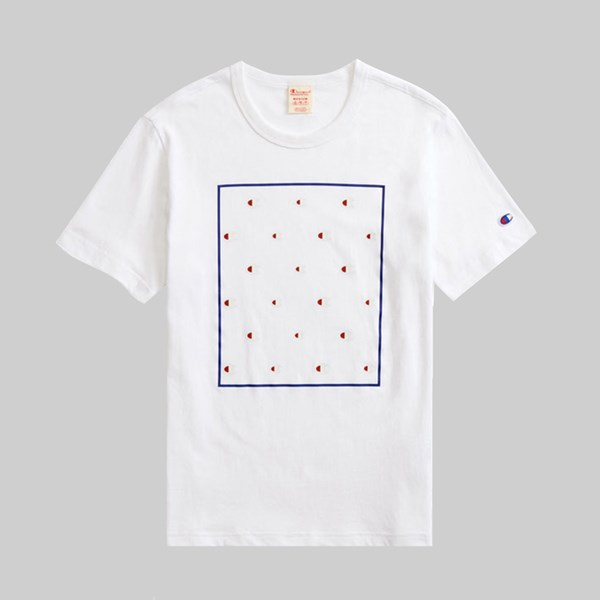 CHAMPION REVERSE WEAVE BOX MULTI LOGO TEE WHITE