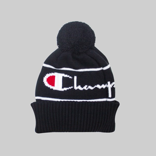 CHAMPION REVERSE WEAVE BIG LOGO POM BEANIE BLACK