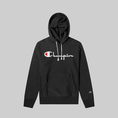 CHAMPION REVERSE WEAVE CHEST SCRIPT HOOD BLACK