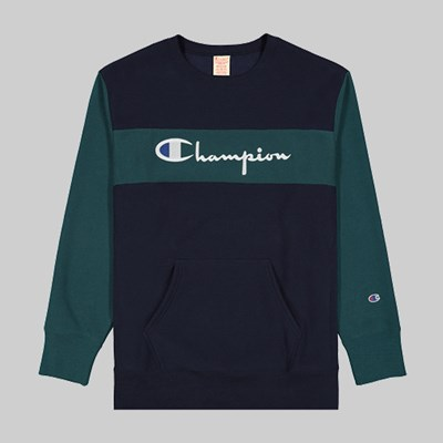 CHAMPION REVERSE WEAVE COLOUR BLOCK CREW NAVY TEAL