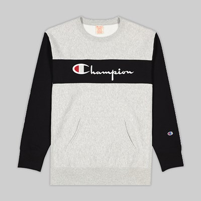 CHAMPION REVERSE WEAVE COLOUR BLOCK CREW GREY BLACK