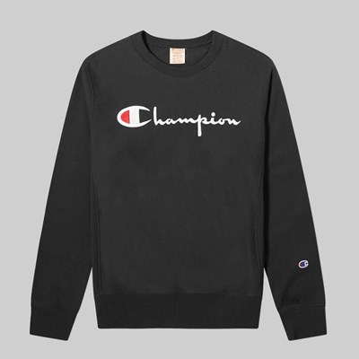 CHAMPION REVERSE WEAVE CHEST SCRIPT CREW BLACK