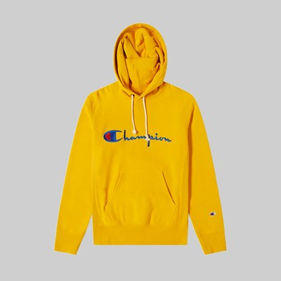 CHAMPION REVERSE WEAVE BIG SCRIPT HOOD SWEAT OLD GOLD