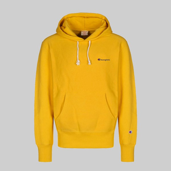 CHAMPION REVERSE WEAVE HOOD SMALL SCRIPT OLD GOLD