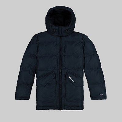 CHAMPION REVERSE WEAVE LONG PUFFER JACKET CARBON