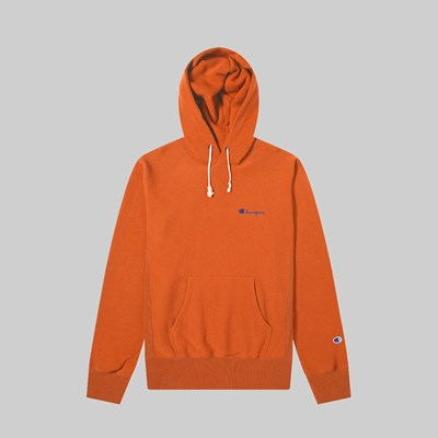 CHAMPION REVERSE WEAVE HOOD SMALL SCRIPT BROWN