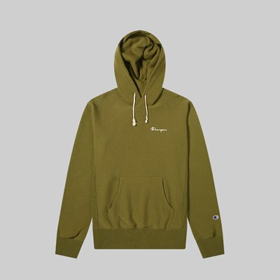 CHAMPION REVERSE WEAVE HOOD SMALL SCRIPT OLIVE