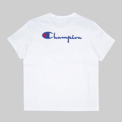 CHAMPION REVERSE WEAVE BACK SCRIPT SS TEE WHITE