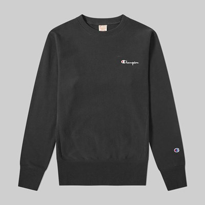 CHAMPION REVERSE WEAVE SMALL SCRIPT CREW SWEAT BLACK