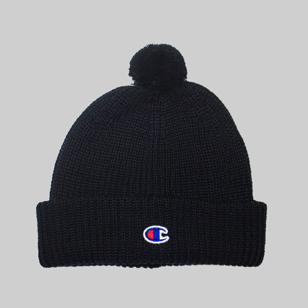CHAMPION REVERSE WEAVE RIBBED POM BEANIE BLACK