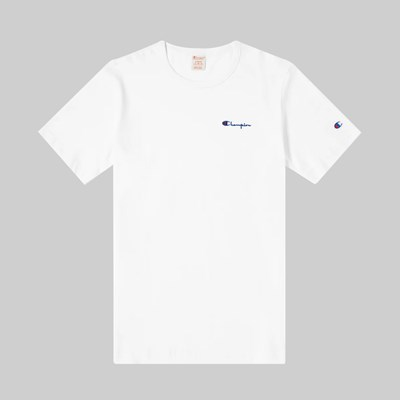 CHAMPION REVERSE WEAVE SMALL SCRIPT SS T-SHIRT WHITE