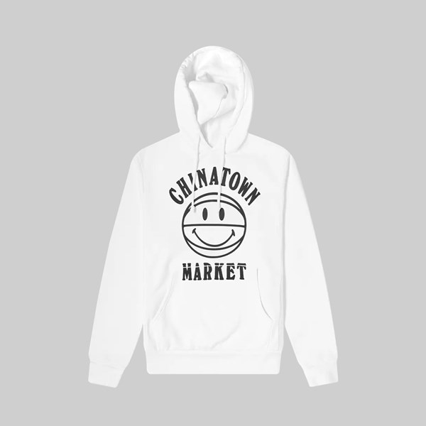 CHINATOWN MARKET SMILEY UV BBALL HOODIE WHITE