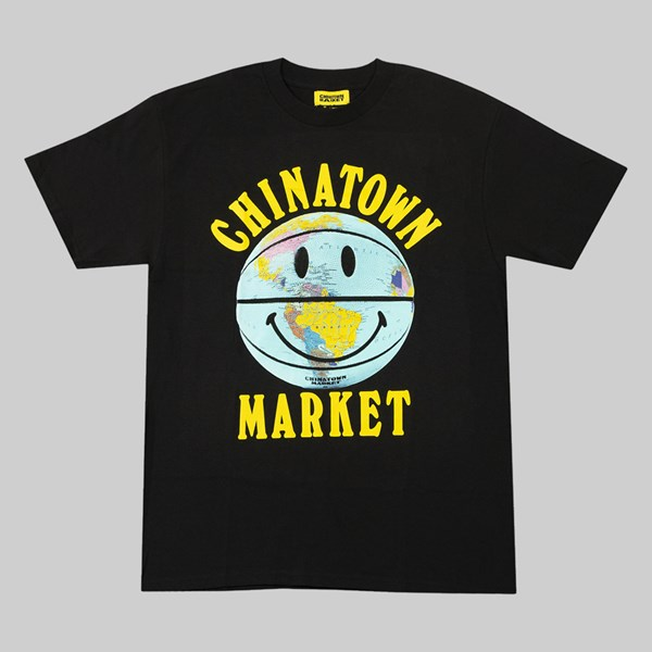 CHINATOWN MARKET SMILEY GLOBE BALL SS TEE BLACK