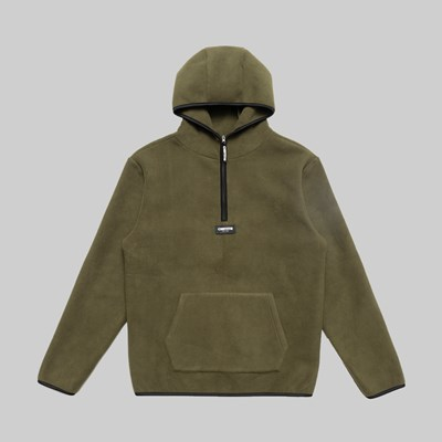 CHRYSTIE NYC FLEECE PULLOVER HOOD MILITARY GREEN