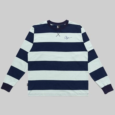 CHRYSTIE NYC SCRIPT LOGO STRIPE LS T-SHIRT BLUE NAVY