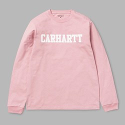CARHARTT WIP L/S COLLEGE T-SHIRT SOFT ROSE WHITE
