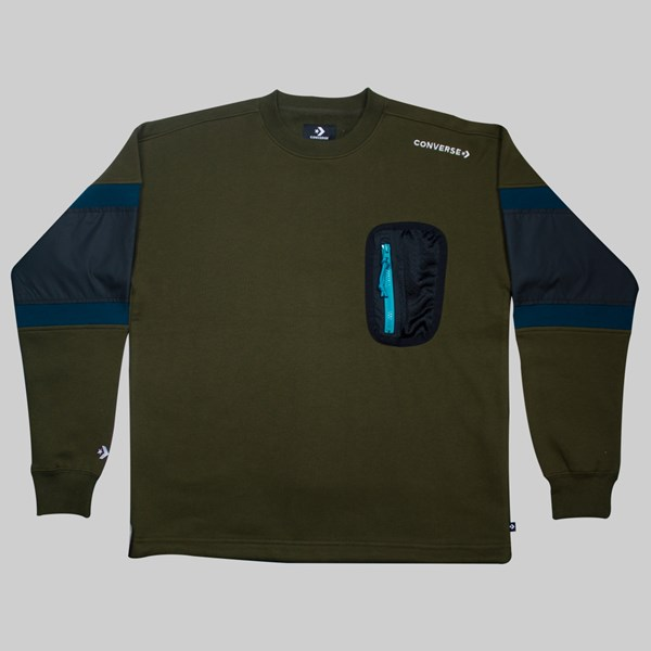 CONVERSE MIXED MEDIA RIPSTOP CREW SWEAT SURPLUS OLIVE