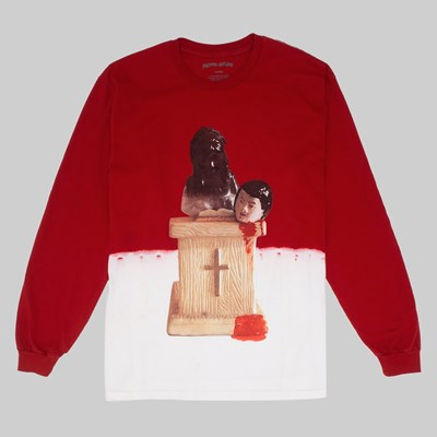 FUCKING AWESOME PREY BLEACH DYED LS TEE SCARLET