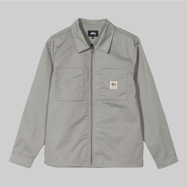 STUSSY POLY COTTON ZIP UP LS SHIRT JACKET GREY