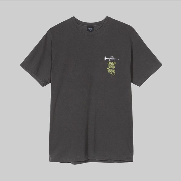 STUSSY GROOVE BEATS PIGMENT DYED SS T-SHIRT BLACK