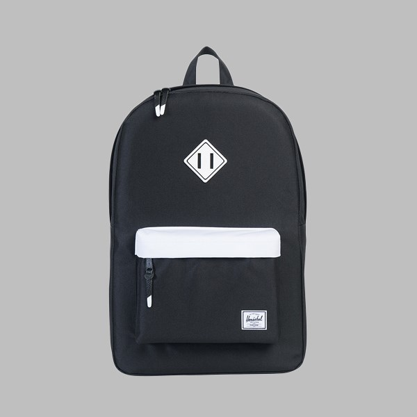 HERSCHEL HERITAGE BACKPACK BLACK WHITE