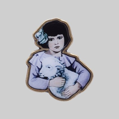 HOCKEY LAMB GIRL ENAMEL PIN BADGE