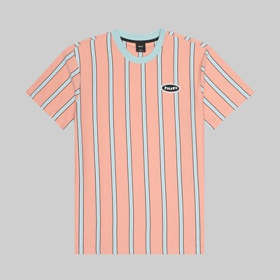 HUF JEROME YARN DYE STRIPE SS KNIT TOP CORAL PINK