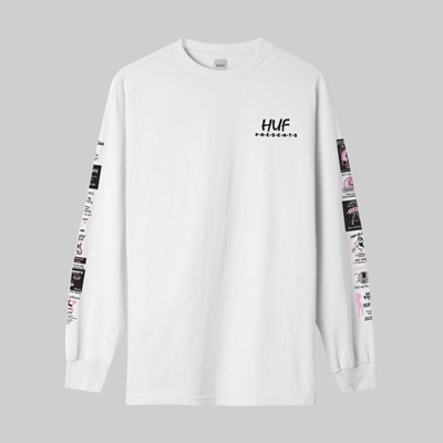 HUF PITSTOP LONG SLEEVE TEE WHITE