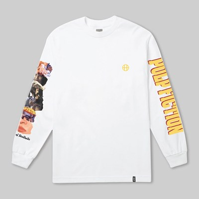 HUF X PULP FICTION COLLAGE LONG SLEEVE TEE WHITE