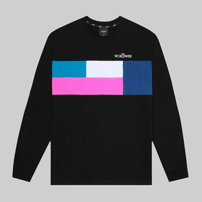 HUF TRANSITION LONG SLEEVE CREW BLACK