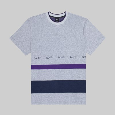 HUF ELLIS YARN DYE STRIPE SS KNIT TOP GREY HEATHER
