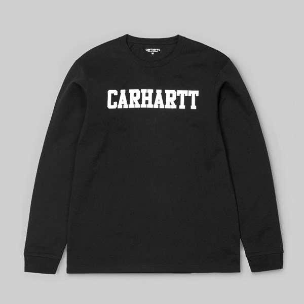 CARHARTT COLLEGE LONG SLEEVE T-SHIRT BLACK WHITE