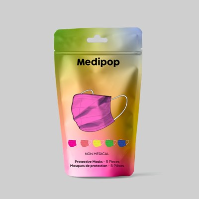 MEDIPOP PROTECTIVE FACE MASKS RAINBOW MIX (5 PACK)
