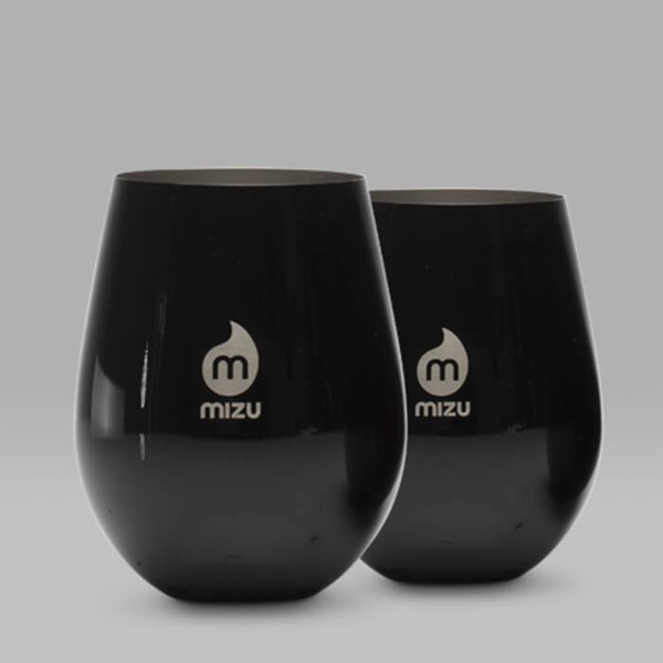 MIZU SET OF TWO STAINLESS STEEL CUPS 17OZ BLACK